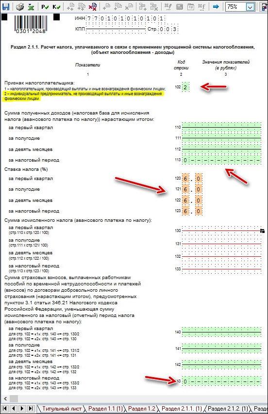 пример заполнения раздела 2.1.1 новой декларации