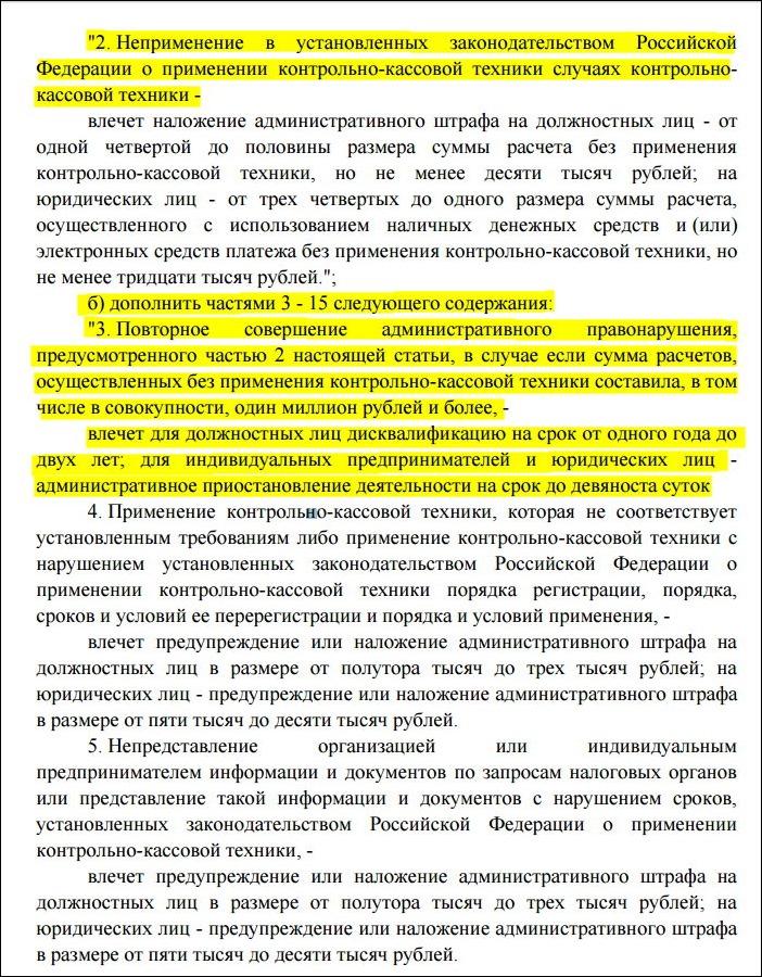 Текст поправок о штрафах