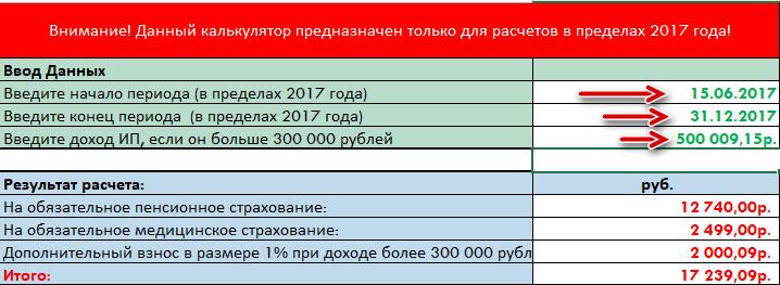 Калькулятор обязательных взносов ИП на 2017 год