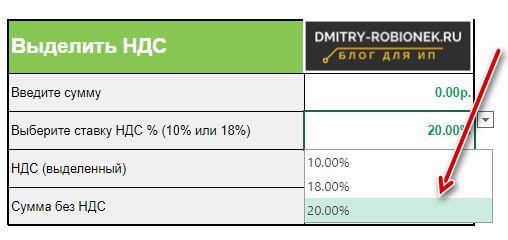 Как пользоваться калькулятором НДС 20%
