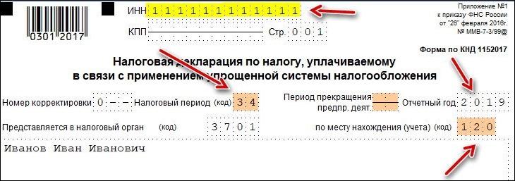 Указываем налоговый период (год)