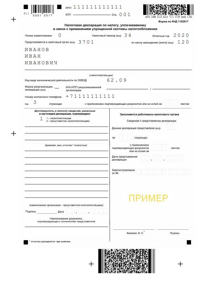 Пример титульного листа декларации по УСН