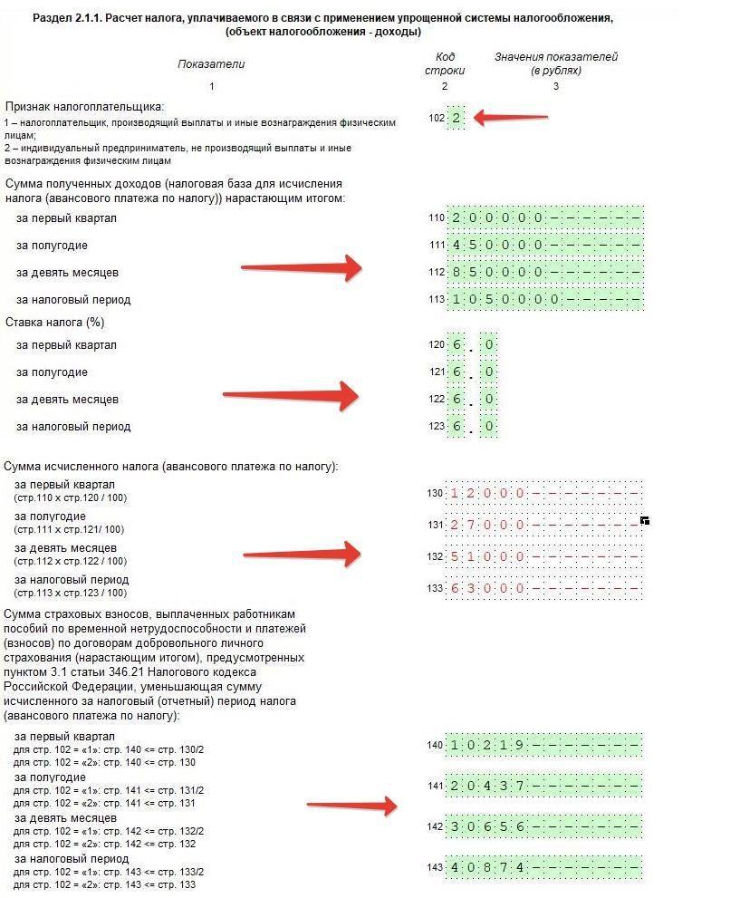 Пример заполненного раздела 2.1