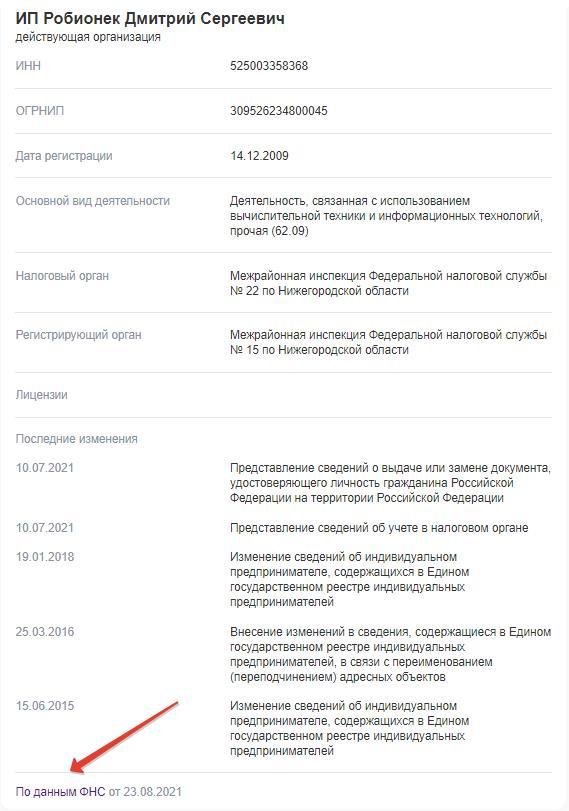 Пример данных из ЕГРИП на сайте Яндекса